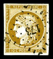 O N°1a, 10c Bistrebrun Foncé Obl Pc, Jolie Nuance. TTB (signé Brun/certificat)   Qualité: O   Cote: 450 Euros - 1849-1850 Cérès