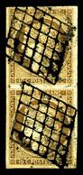 O N°1b, 10c Bistreverdâtre En Paire Verticale, TB (signé Brun/certificat)   Qualité: O   Cote: 1450 Euros - 1849-1850 Cérès