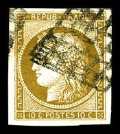 O N°1b, 10c Bistreverdâtre, Jolie Nuance. TTB (signé Calves/certificats)   Qualité: O   Cote: 500 Euros - 1849-1850 Cérès