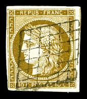 O N°1c, 10c Bistreverdâtre Foncé Obl Grille, Infime Froissure, Jolie Couleur. TTB (signé Brun/certificat)   Qualité: O   - 1849-1850 Cérès