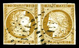 O N°1d, 10c Bistre En Paire Têtebêche Obl Pc, PIECE SUPERBE. R.R. (signé Calves/Brun/certificat)   Qualité: O   Cote: 24 - 1849-1850 Cérès