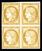 ** N°1f, 10c Bistre, Impression De 1862 En Bloc De Quatre. Fraîcheur Postale. SUP (certificat)   Qualité: ** - 1849-1850 Cérès