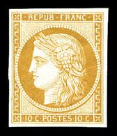 * N°1f, 10c Bistre, Impression De 1862, TTB (certificat)   Qualité: *   Cote: 650 Euros - 1849-1850 Cérès
