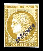 * N°1, 10c Bistre, Impression De 1862, Surchargé 'SPECIMEN'. SUP . R.R. (signé Scheller/certificats)   Qualité: * - 1849-1850 Cérès