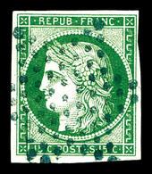 O N°2, 15c Vert Oblitération étoile Bleue. SUPERBE. R.R. (signé/certificat)   Qualité: O   Cote: 3000 Euros - 1849-1850 Cérès