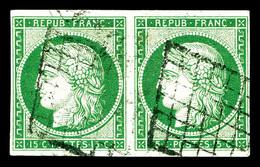 O N°2, 15c Vert En Paire Horizontale. SUP (signé Brun/certificats)   Qualité: O   Cote: 2500 Euros - 1849-1850 Cérès