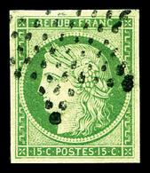 O N°2, 15c Vert, Belles Marges. TTB (signé Calves/certificat)   Qualité: O   Cote: 1000 Euros - 1849-1850 Cérès