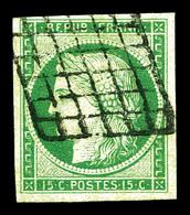 O N°2, 15c Vert Oblitéré Grille. TTB (certificat)   Qualité: O   Cote: 1050 Euros - 1849-1850 Cérès