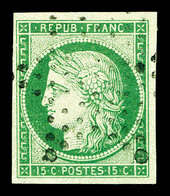 O N°2, 15c Vert Oblitéré étoile Légère. TTB (signé Brun/certificat)   Qualité: O   Cote: 1050 Euros - 1849-1850 Cérès