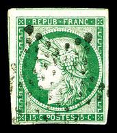O N°2, 15c Vert Avec Deux Voisins. TTB (signé Brun/certificat)   Qualité: O   Cote: 1050 Euros - 1849-1850 Cérès