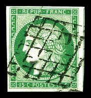 O N°2, 15c Vert Obl Grille, Un Voisin, Jolie Nuance. TTB (signé Calves/certificat)   Qualité: O   Cote: 1050 Euros - 1849-1850 Cérès