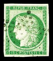 O N°2, 15c Vert Obl étoile Légère. TB (certificat)   Qualité: O   Cote: 1000 Euros - 1849-1850 Cérès