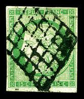 O N°2, 15c Vert, Obl Grille. TB (signé Calves/certificats)   Qualité: O   Cote: 1050 Euros - 1849-1850 Cérès