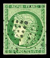 O N°2, 15c Vert Obl Losange évidé, 2 Points De Pelurages Sinon TB   Qualité: O   Cote: 1000 Euros - 1849-1850 Cérès