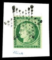 O N°2b, 15c Vert Foncé Obl étoile Sur Son Support. TB (signé Thiaude/Brun/Certificat)   Qualité: O   Cote: 1250 Euros - 1849-1850 Cérès
