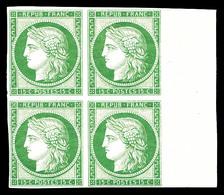 ** N°2e, 15c Vert Impression De 1862 En Bloc De Quatre Bord De Feuille Latéral (2ex*), Fraîcheur Postale. SUP (certifica - 1849-1850 Cérès