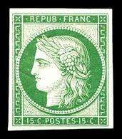 * N°2e, 15c Vert, Impression De 1862, Très Frais. TTB (certificat)   Qualité: *   Cote: 850 Euros - 1849-1850 Cérès
