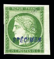 * N°2, 15c Vert, Impression De 1862, Surchargé 'SPECIMEN', Bdf, Froissure De Gomme Sans Importance. SUP . R.R. (signé Sc - 1849-1850 Cérès