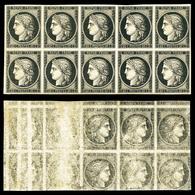 ** N°3, 20c Noir Sur Jaune, Impression Rectoverso En Bloc De 10 Exemplaires. SUPERBE. R.R. (signé Calves/certificat)   Q - 1849-1850 Cérès
