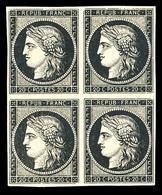 ** N°3, 20c Noir Sur Jaune En Bloc De Quatre (1ex*), FRAÎCHEUR POSTALE, SUPERBE (signé Brun/certificat)    Qualité: ** - 1849-1850 Cérès