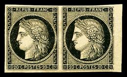 * N°3, 20c Noir En Paire Horizontale Bdf. SUP (certificat)   Qualité: *   Cote: 1200 Euros - 1849-1850 Cérès