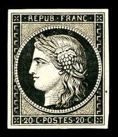 * N°3, 20c Noir Sur Jaune, TB (certificat)   Qualité: *   Cote: 600 Euros - 1849-1850 Cérès