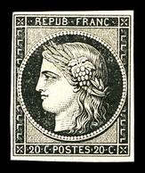 * N°3, 20c Noir Sur Jaune, Frais. TB (certificat)   Qualité: *   Cote: 600 Euros - 1849-1850 Cérès