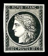 (*) N°3, 20c Noir. TB (signé Calves)   Qualité: (*)   Cote: 200 Euros - 1849-1850 Cérès