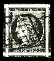 O N°3, 20c Noir, Huit Voisins, Pièce Choisie. SUP. R. (signé Brun/certificat)   Qualité: O - 1849-1850 Cérès
