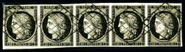 O N°3, 20c Noir Sur Jaune En Bande De Cinq Horizontale, Très Jolie Pièce, SUP (certificat)   Qualité: O   Cote: 1700 Eur - 1849-1850 Cérès