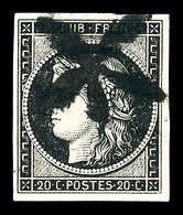 O N°3, 20c Noir Obl Rosette Du Bureau 'J', Pièce De Qualité Remarquable, à Notre Avis Le Plus Bel Exemplaire De Cette Ob - 1849-1850 Cérès