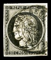 O N°3, 20c Noir Obl Càd Type 15 Du 5 Janvier 1849, TTB (signé Brun)   Qualité: O   Cote: 500 Euros - 1849-1850 Cérès