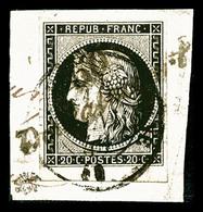 O N°3, 20c Noir Obl Cursive '50 Doulincourt' Et Càd T15 Du 11 Janvier 49 Sur Son Support. SUP. R.R. (signé/certificat)   - 1849-1850 Cérès
