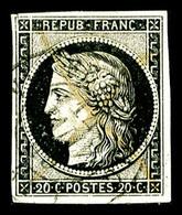 O N°3, 20c Noir Obl Càd Type 15 Du 14 Janvier 1849, TB (signé Calves)   Qualité: O   Cote: 250 Euros - 1849-1850 Cérès