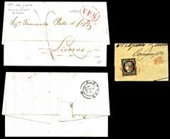 O N°3, 20c Noir Obl Ovale Rouge 'VPM' (Via Particolare Maritima, Salles N°667) Sur Fragment De Lettre De Marseille. UNIQ - 1849-1850 Cérès
