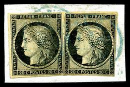 O N°3, 20c Noir, Deux Exemplaires Obl Petit Cachet à Date Bleu Type 15 De Paris Sur Support. SUPERBE. R.R. (signé/certif - 1849-1850 Cérès