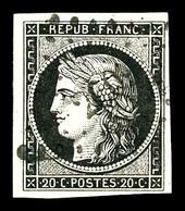 O N°3, 20c Noir Obl Petits Chiffres. TB   Qualité: O   Cote: 700 Euros - 1849-1850 Cérès