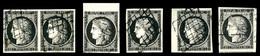 O N°3, 20c Noir, Ensemble De 6 Exemplaires Choisis. TTB   Qualité: O - 1849-1850 Cérès