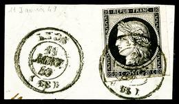 O N°3, 20c Noir Sur Jaune Obl Càd Type 15 Du 11 Janvier 1849 Sur Petit Fragment, TB   Qualité: O   Cote: 250 Euros - 1849-1850 Cérès