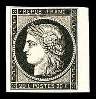 * N°3b, 20c Noir Sur Chamois Foncé, Bord De Feuille. SUP (signé Calves/certificats)   Qualité: *   Cote: 1100 Euros - 1849-1850 Cérès