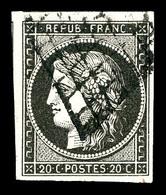 O N°3c, 20c Grisnoir Obl Grille. TB (signé Calves/certificat)   Qualité: O   Cote: 500 Euros - 1849-1850 Cérès