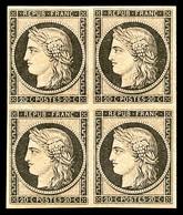 ** N°3f, 20c Noir Sur Jaune, Impression De 1862 En Bloc De Quatre (2ex*), FRAÎCHEUR POSTALE, SUPERBE (certificats)    Qu - 1849-1850 Cérès