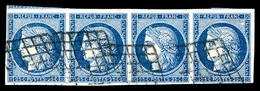 O N°4, 25c Bleu, Bande De Quatre, Belles Marges. TTB (signé Scheller/Brun/certificat)   Qualité: O   Cote: 1000 Euros - 1849-1850 Cérès