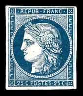 * N°4a, 25c Bleu Très Foncé, Grande Fraîcheur. SUPERBE. R.R. (signé Calves/certificat)   Qualité: *   Cote: 9000 Euros - 1849-1850 Cérès