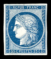 (*) N°4a, 25c Bleu Foncé. TTB (certificat)   Qualité: (*)   Cote: 5000 Euros - 1849-1850 Cérès
