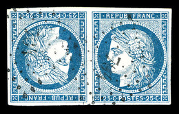 O N°4c, 25c Bleu En Paire Têtebêche, Pelurage Mais Très Belle Présentation. R.R (signé Brun/certificat)   Qualité: O   C - 1849-1850 Cérès