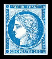 * N°4d, 25c Bleu, Impression De 1862. TB (certificat)   Qualité: *   Cote: 600 Euros - 1849-1850 Cérès