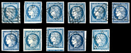 O N°4, 25c Cérès, 11 Exemplaires Dont Nuances Et Oblitérations. TTB   Qualité: O   Cote: 835 Euros - 1849-1850 Cérès