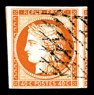 O N°5, 40c Orange Obl Grille Sans Fin, Grandes Marges Avec Voisins. SUP (signé Calves/Scheller/certificat)   Qualité: O - 1849-1850 Cérès