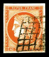 O N°5, 40c Orange, Oblitération Grille, Jolie Pièce, TB   Qualité: O   Cote: 500 Euros - 1849-1850 Cérès